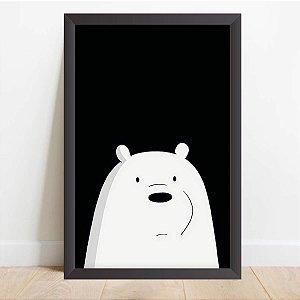 Quadro Infantil Coleção Animais da Floresta Urso Branco Cartoon Preto e Branco
