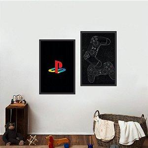 Kit 2 Quadros decorativos Video Game Geração do Playstation