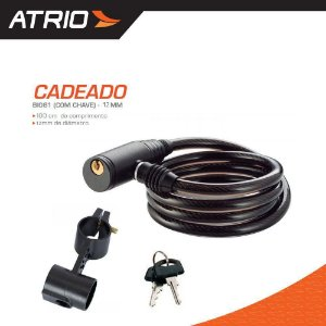 Cadeado p/ Bike ATRIO c/ Chave Cabo 12mm - BI081