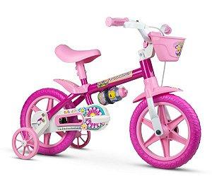 Bicicleta NATHOR Flower Aro 12 Rosa/Branco Lilly