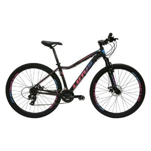 Bicicleta LOTUS Angel Aro 29 21V Preto/Azul/Rosa - Tam. 17,5