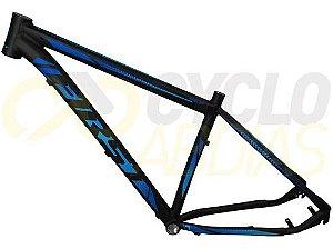 Quadro MTB First Shelby Alumínio Preto/Azul Fosco Tam. 17.5