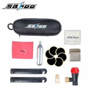 Kit Reparo Pneu - remendo, lixa, adaptador, espatula, Cilindro de CO2 + válvula