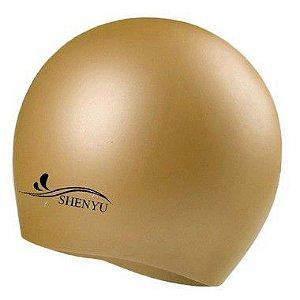 Touca de Silicone p/ Natação (Flexível e Impermeável) -Dourada
