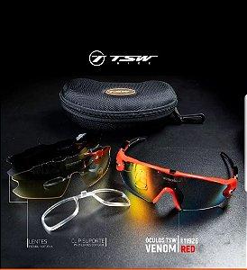 Óculos de Ciclismo TSW Venon - Vermelho/Preto - Kit c/ 3 Lentes
