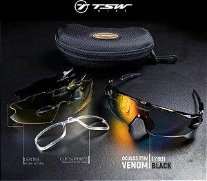 Óculos de Ciclismo TSW Venon - Preto / Cinza - Kit c/ 3 Lentes