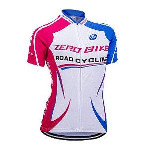 Camisa Ciclismo Feminina ZERO BIKE Branco/Azul/Rosa - TAM. M