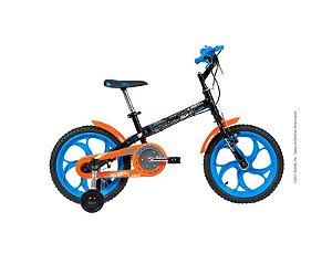 Bicicleta Infantil CALOI Hot Wheels - 16 Preto/Azul/Laranja