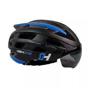 Capacete HIGH ONE Bike MTB Casco New com Oculos Preto/Azul