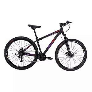 Bicicleta RAVA Pressure 2020 Aro 29/21V Preto/Vermelho/Violeta - Tam. 17