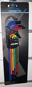 "Kit de Ferramentas AUDAX Allen Colorido em ""L"""