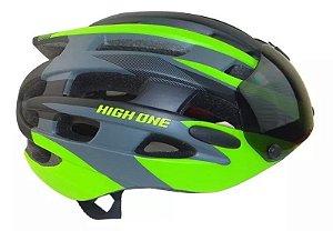Capacete HIGH ONE Casco New com Óculos Preto/Verde- Tam G