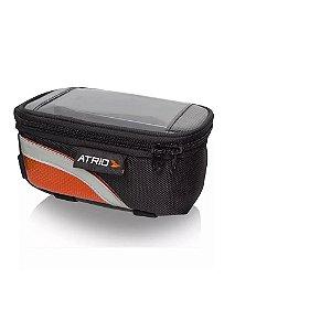 Bolsa ATRIO com Porta Celular para Bicicleta Capacidade de 0,6L Preto/Laranja