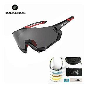 Óculos de Ciclismo ROCKBROS Unissex Preto (+4 Lentes)