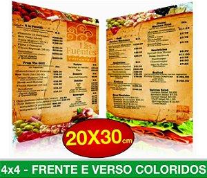 CARDÁPIO PLASTIFICADO - Frente e Verso Coloridos - 4x4 - Tamanho A4 - Papel Couche170g