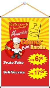 Banner Digital 1,20x0,80m - Lona 440g - Com Madeirinha