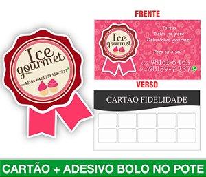 1.500 CARTÕES DE VISITA + 250 ADESIVOS BOLO NO POTE