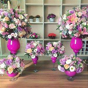 Arranjos com Flores cor-de-rosa
