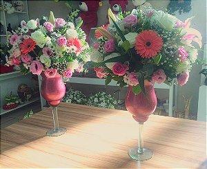 Arranjo com Flores cor-de-rosa modelo 7