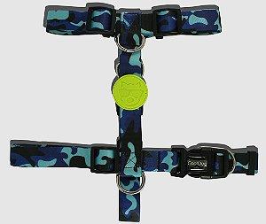 Peitoral H para Cachorro - Blue Army - CoolDog
