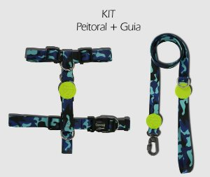 KIT Peitoral e Guia - Blue Army - CoolDog