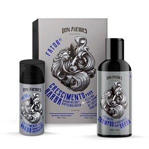 Kit Fator de Crescimento para Barba Nanofactor® IGF Biotecnológico e Peeling pré shampoo Don Alcides