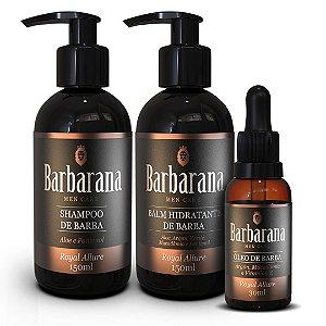 Kit Shampoo, Balm Hidratante e Óleo de Barba Barbarana