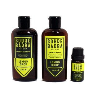 Kit Shampoo, Balm e Óleo Lemon Drop Sobrebarba