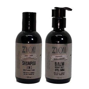 Kit Shampoo 3 em 1 + Balm de barba Zyon
