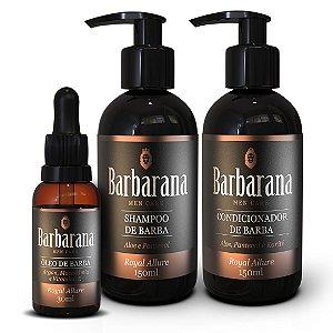 Kit Shampoo, Condicionador e Óleo de Barba Barbarana