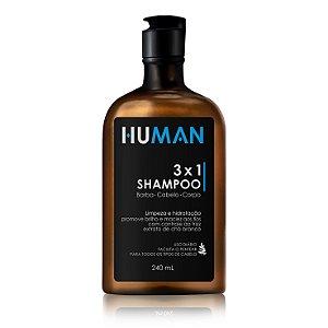 Shampoo 3 em 1 Barba Cabelo e Corpo Human - 240ml