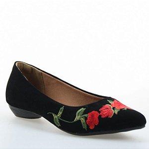 Sapatilha D'Moon 80097-2 Preta com Floral