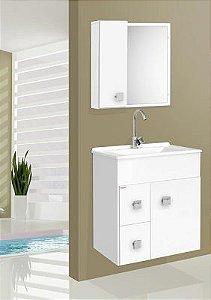 Gabinete p/ banheiro suspenso Ecco branco - Fabribam