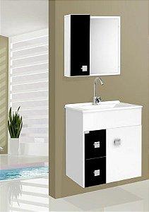 Gabinete p/ banheiro suspenso Ecco preto - Fabribam