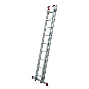 Escada extensiva de alumínio 2x8 degraus - Botafogo