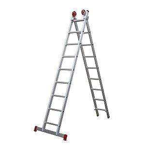 Escada extensiva de alumínio 2x10 degraus - Botafogo