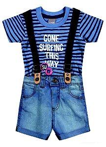 Conjunto Masculino camiseta de manga curta e bermuda jeans com suspensório - Brandili Mundi