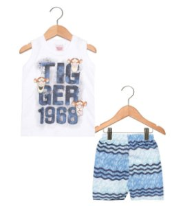 Conjunto Masculino bermuda e camiseta regata- Ursinho Pooh -  Brandili