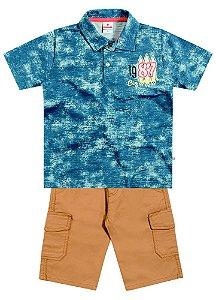 Conjunto masculino bermuda e camiseta polo - Brandili