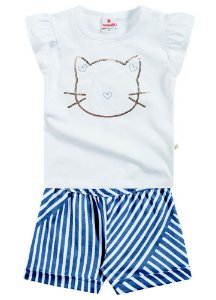 Conjunto feminino short e blusa de manga curta - Brandili