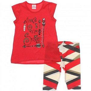 Conjunto Feminino calça e blusa de manga curta - Brandili