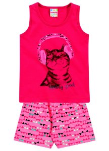 Conjunto feminino short e camiseta- Brandili