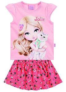 Conjunto feminino short e blusa manga curta - Jolie - Brandilli