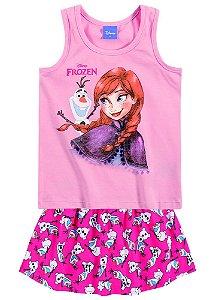 Conjunto feminino estampado short- saia e camiseta - Frozen - Brandili
