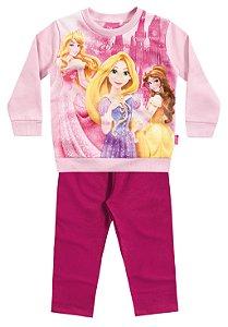 Conjunto Feminino  em moletom calça e blusa de manga longa - Princesas Disney - Brandili
