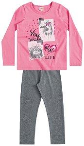 Conjunto Feminino calça legging e blusa de manga longa - Brandili