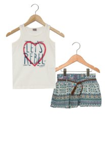 Conjunto feminino short e camiseta - Brandili Mundi