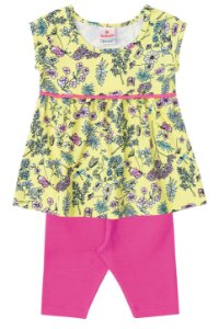Conjunto feminino infantil - Mini Vestido e Legging - Brandili