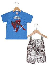 Conjunto masculino bermuda e camiseta manga curta - Homem Aranha - Brandili