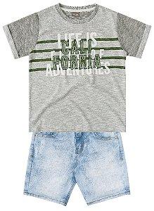 Conjunto masculino bermuda jeans e camiseta - Brandili Mundi